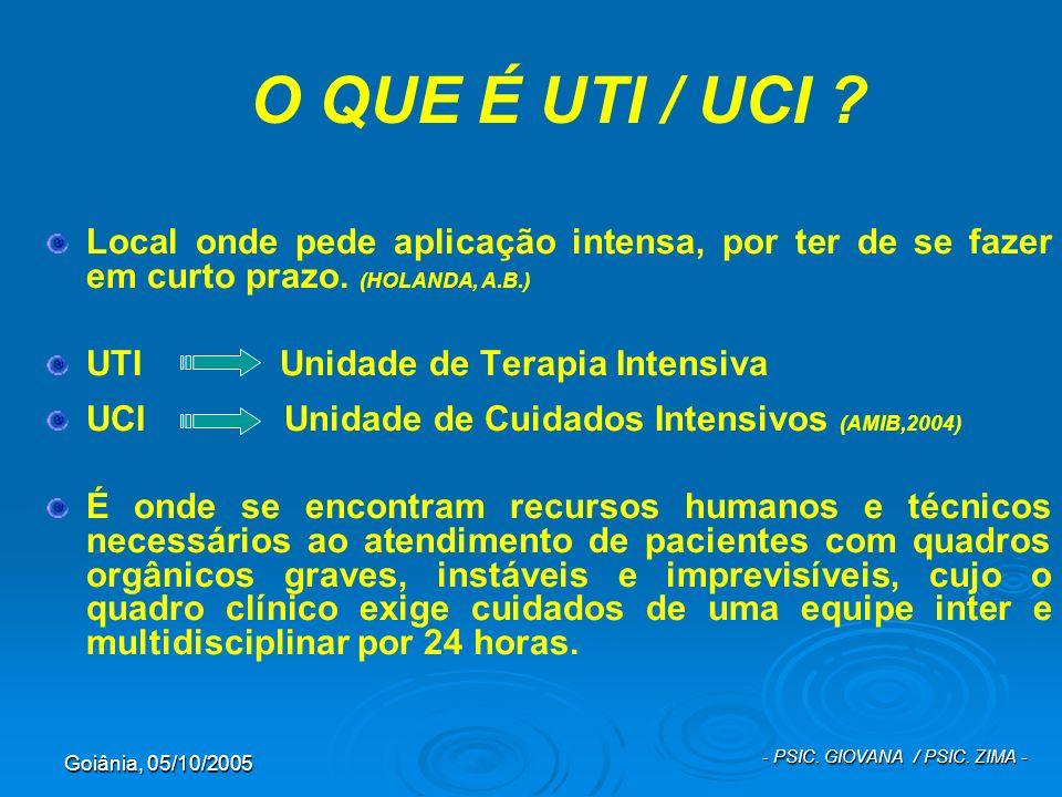 Goiânia, 05/10/2005 - PSIC. GIOVANA / PSIC. ZIMA - O QUE É UTI / UCI ? Local onde pede aplicação intensa, por ter de se fazer em curto prazo. (HOLANDA