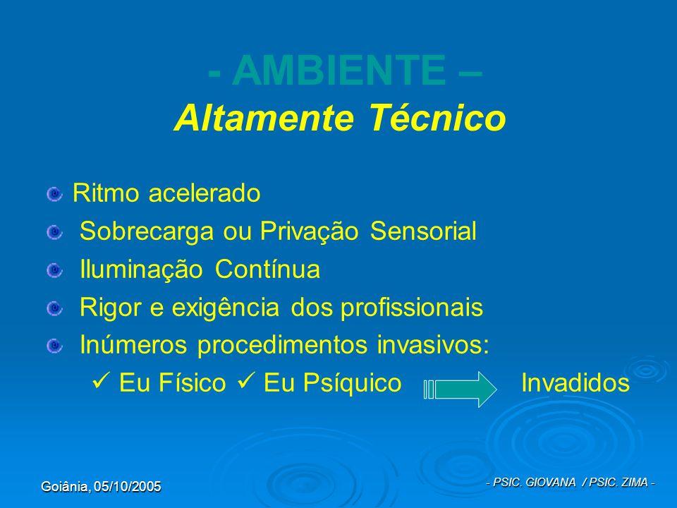 Goiânia, 05/10/2005 - PSIC. GIOVANA / PSIC. ZIMA - - AMBIENTE – Altamente Técnico Ritmo acelerado Sobrecarga ou Privação Sensorial Iluminação Contínua