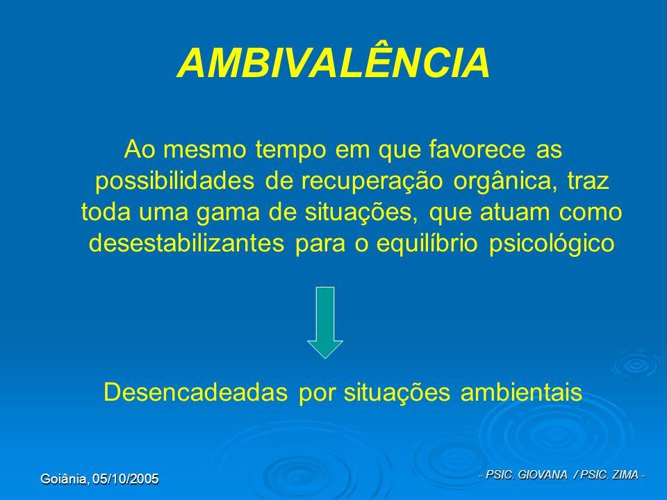 Goiânia, 05/10/2005 - PSIC. GIOVANA / PSIC. ZIMA - AMBIVALÊNCIA Ao mesmo tempo em que favorece as possibilidades de recuperação orgânica, traz toda um