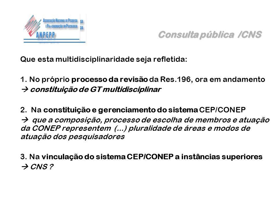 Consulta pública /CNS Que esta multidisciplinaridade seja refletida: 1. No próprio processo da revisão da Res.196, ora em andamento constituição de GT