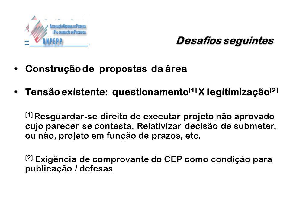 Desafios seguintes Construção de propostas da área Tensão existente: questionamento [1] X legitimização [2] [1] Resguardar-se direito de executar proj