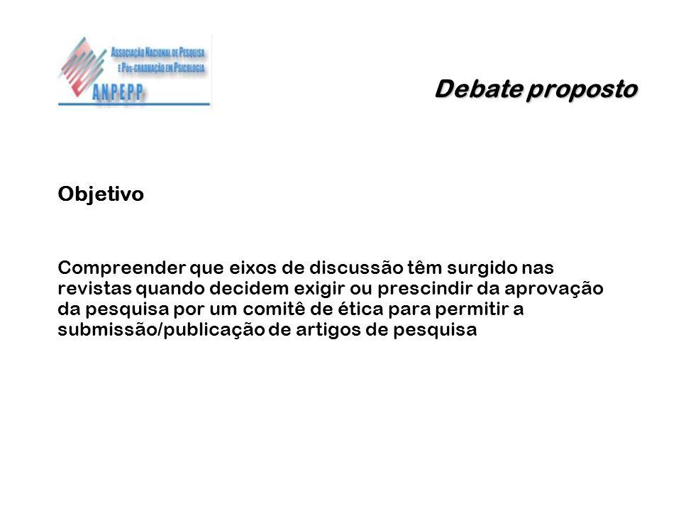 Debate proposto Objetivo Compreender que eixos de discussão têm surgido nas revistas quando decidem exigir ou prescindir da aprovação da pesquisa por