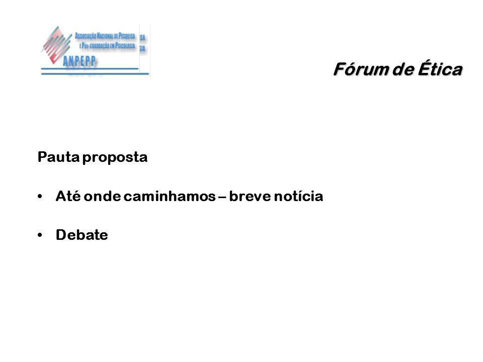 Pauta proposta Até onde caminhamos – breve notícia Debate Fórum de Ética