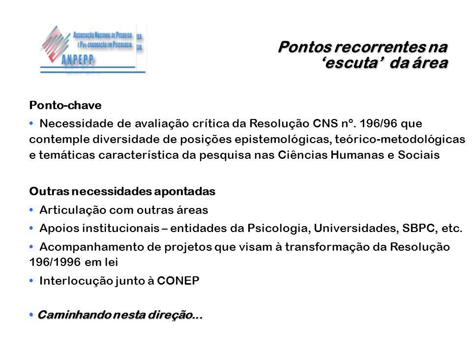 Pontos recorrentes na escuta da área Ponto-chave Necessidade de avaliação crítica da Resolução CNS nº. 196/96 que contemple diversidade de posições ep