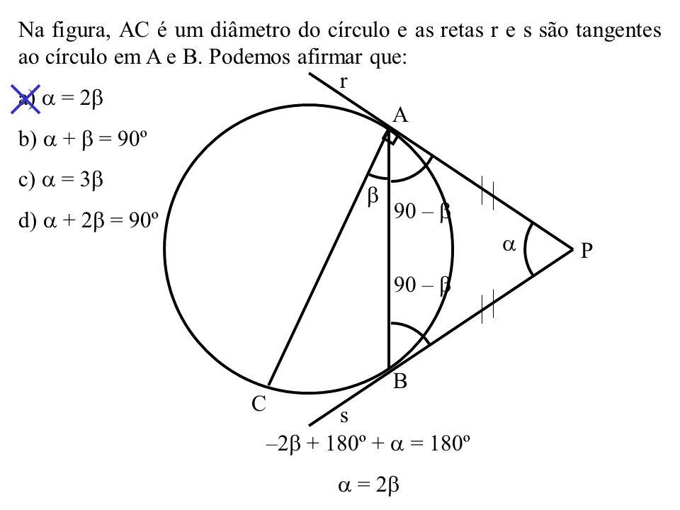 (UEL) Na figura a seguir, tem-se a reta r tangente à circunferência de centro C e o triângulo eqüilátero ABC, cujo lado mede 8 3cm.