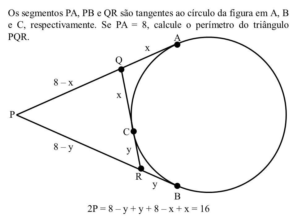 (Cesgranrio) OPQ é um quadrante de círculo no qual foram traçados semicírculos de diâmetros OP e OQ.