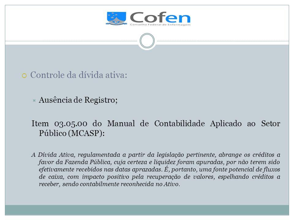 . Controle da dívida ativa: Ausência de Registro; Item 03.05.00 do Manual de Contabilidade Aplicado ao Setor Público (MCASP): A Dívida Ativa, regulame