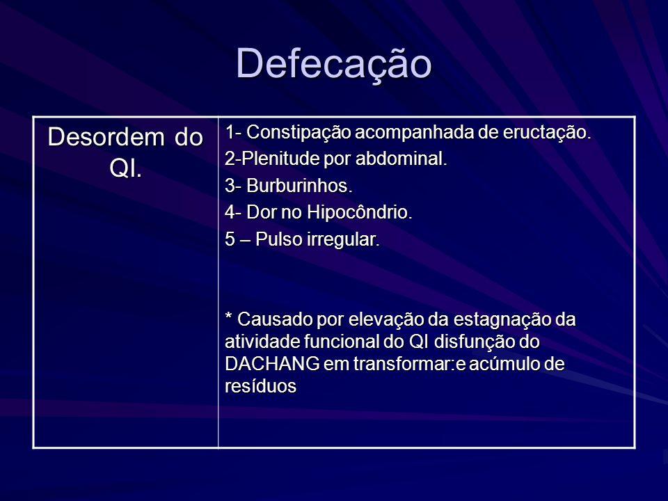 Defecação Desordem do QI. 1- Constipação acompanhada de eructação. 2-Plenitude por abdominal. 3- Burburinhos. 4- Dor no Hipocôndrio. 5 – Pulso irregul