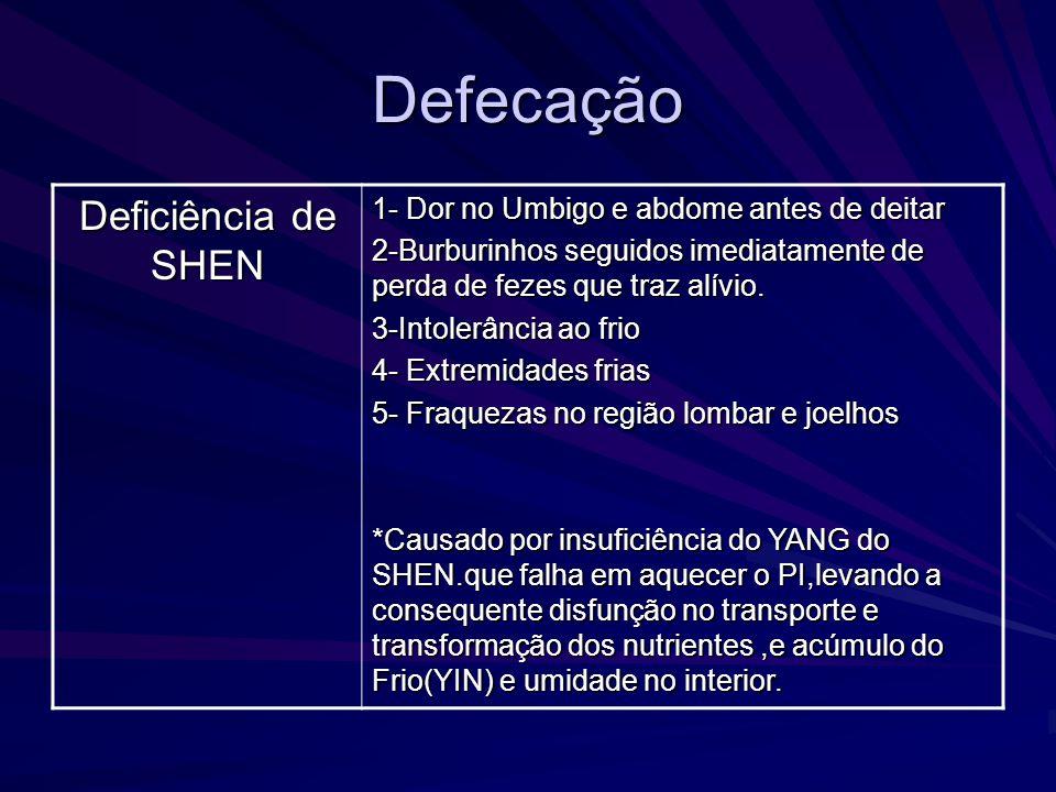 Defecação Deficiência de SHEN 1- Dor no Umbigo e abdome antes de deitar 2-Burburinhos seguidos imediatamente de perda de fezes que traz alívio. 3-Into