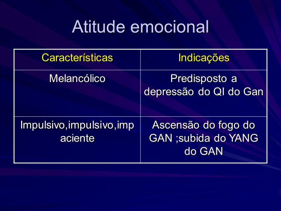 Atitude emocional CaracterísticasIndicações Melancólico Predisposto a depressão do QI do Gan Impulsivo,impulsivo,imp aciente Ascensão do fogo do GAN ;