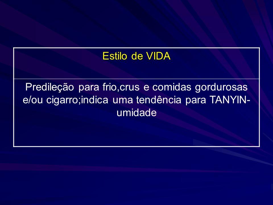Estilo de VIDA Predileção para frio,crus e comidas gordurosas e/ou cigarro;indica uma tendência para TANYIN- umidade