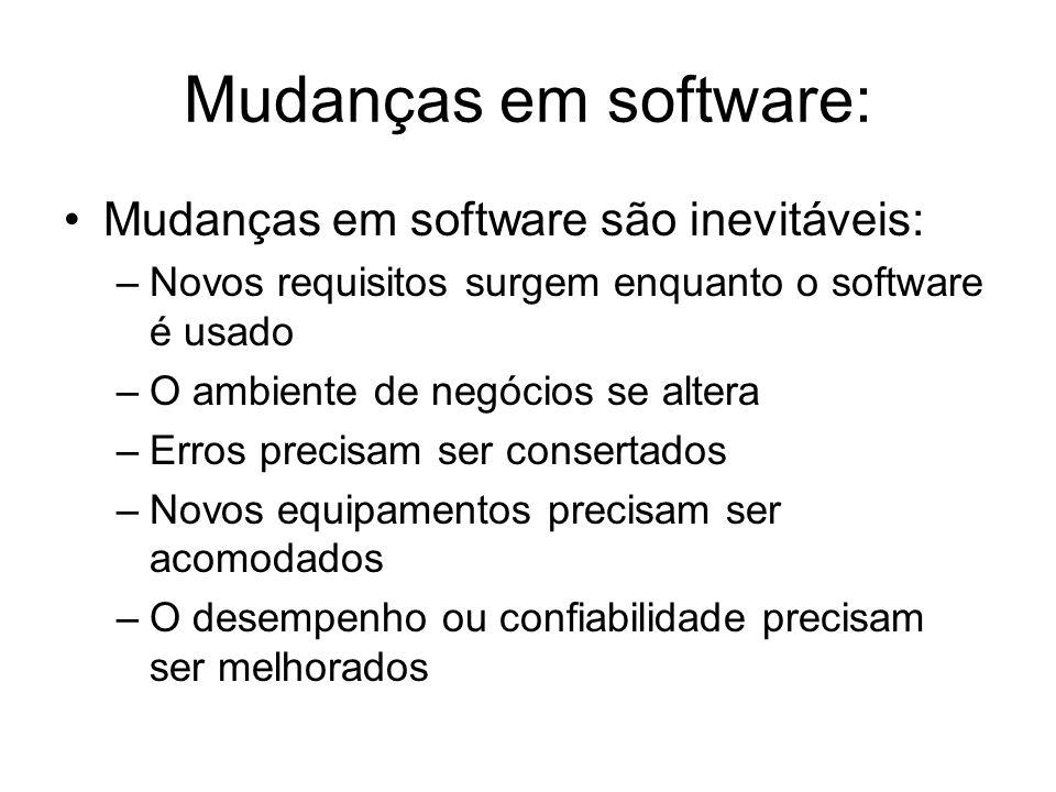 Mudanças em software: Mudanças em software são inevitáveis: –Novos requisitos surgem enquanto o software é usado –O ambiente de negócios se altera –Er