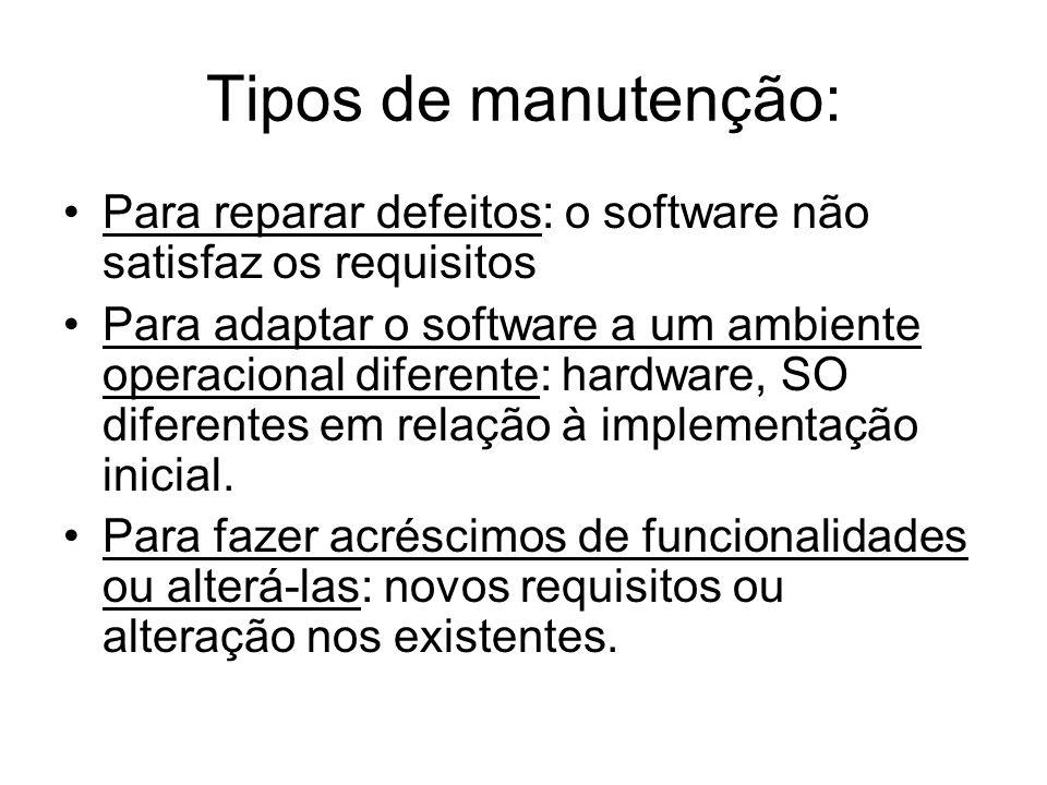 Tipos de manutenção: Para reparar defeitos: o software não satisfaz os requisitos Para adaptar o software a um ambiente operacional diferente: hardwar