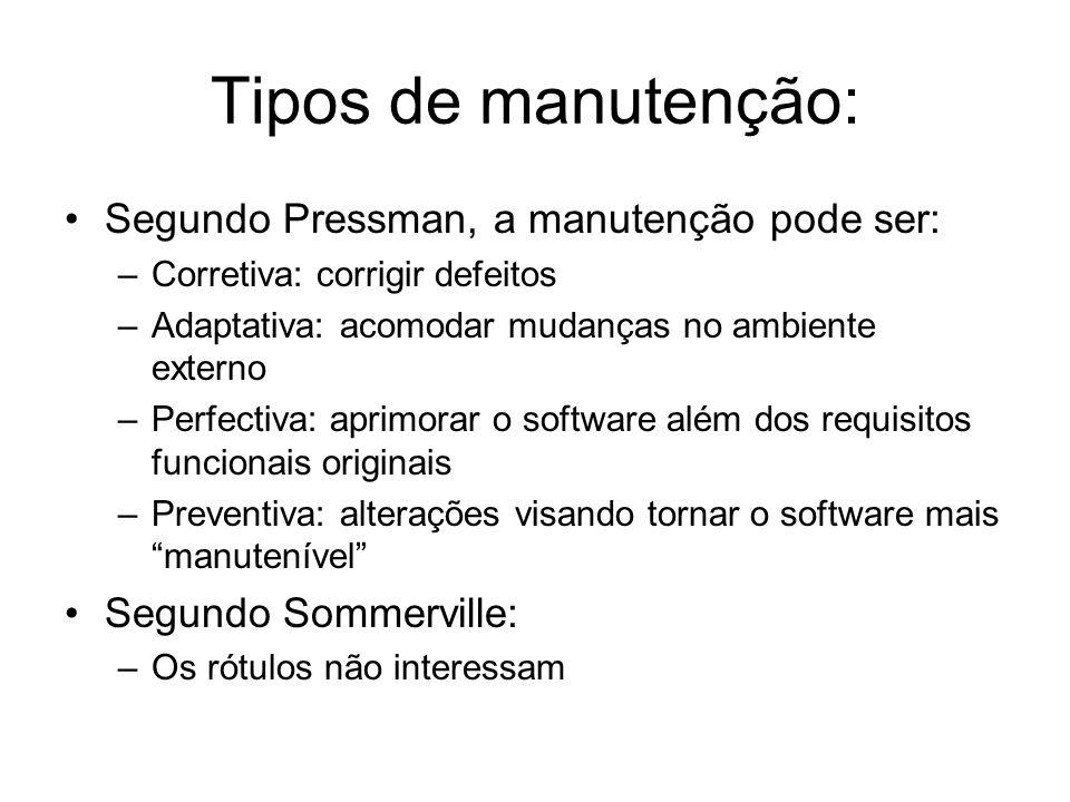 Tipos de manutenção: Segundo Pressman, a manutenção pode ser: –Corretiva: corrigir defeitos –Adaptativa: acomodar mudanças no ambiente externo –Perfec