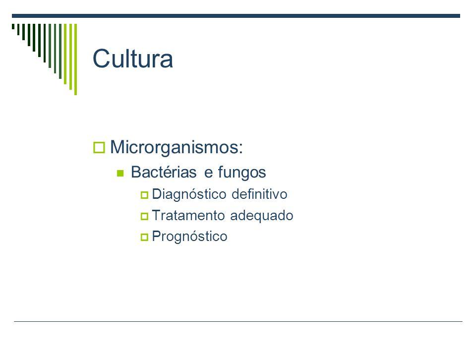 Cultura Microrganismos: Bactérias e fungos Diagnóstico definitivo Tratamento adequado Prognóstico
