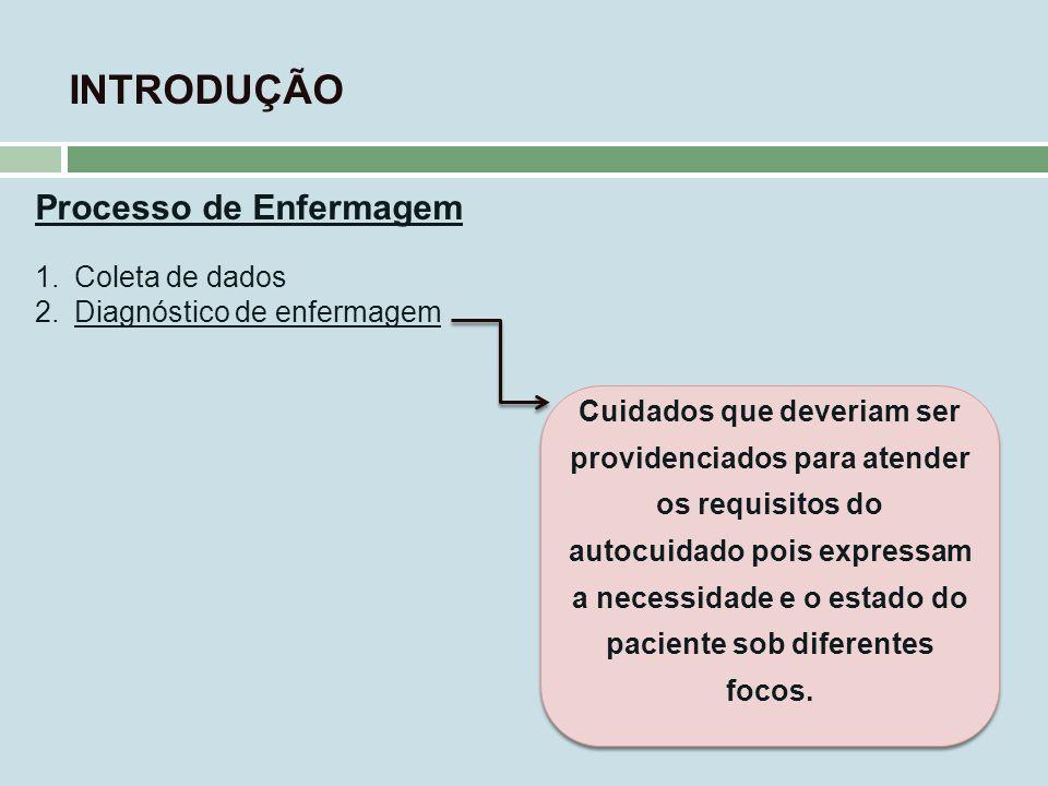 INTRODUÇÃO Processo de Enfermagem 1.Coleta de dados 2.Diagnóstico de enfermagem Cuidados que deveriam ser providenciados para atender os requisitos do
