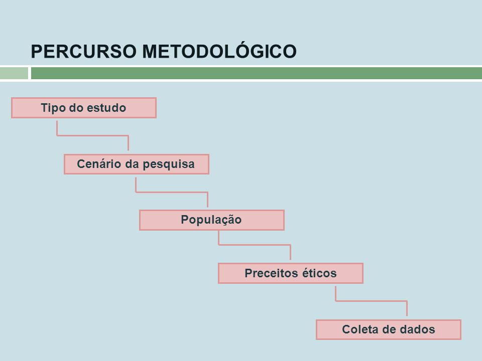 PERCURSO METODOLÓGICO Cenário da pesquisa População Preceitos éticos Coleta de dados Tipo do estudo