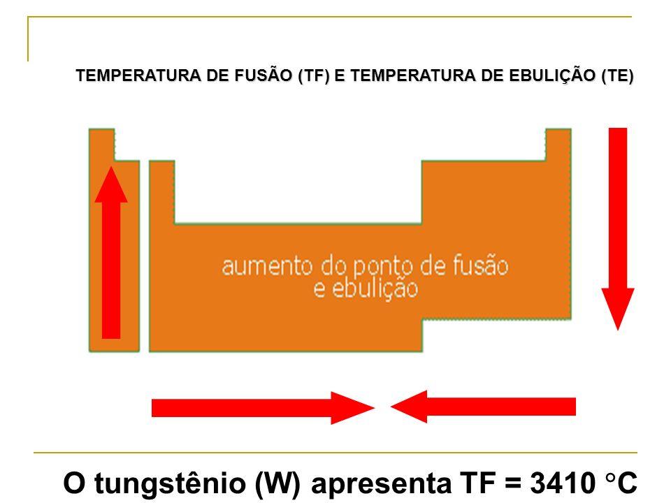 O tungstênio (W) apresenta TF = 3410 C TEMPERATURA DE FUSÃO (TF) E TEMPERATURA DE EBULIÇÃO (TE)