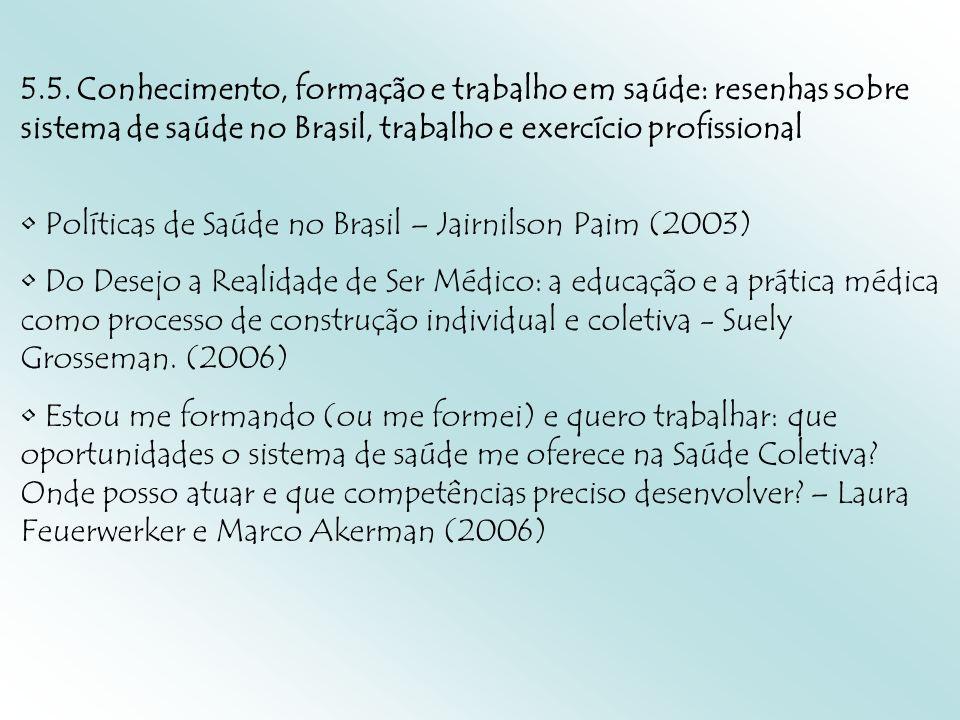 5.5. Conhecimento, formação e trabalho em saúde: resenhas sobre sistema de saúde no Brasil, trabalho e exercício profissional Políticas de Saúde no Br