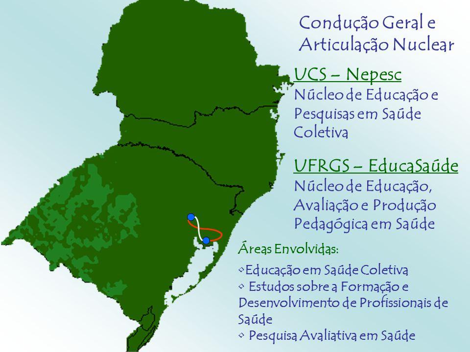 UCS – Nepesc Núcleo de Educação e Pesquisas em Saúde Coletiva UFRGS – EducaSaúde Núcleo de Educação, Avaliação e Produção Pedagógica em Saúde Áreas En