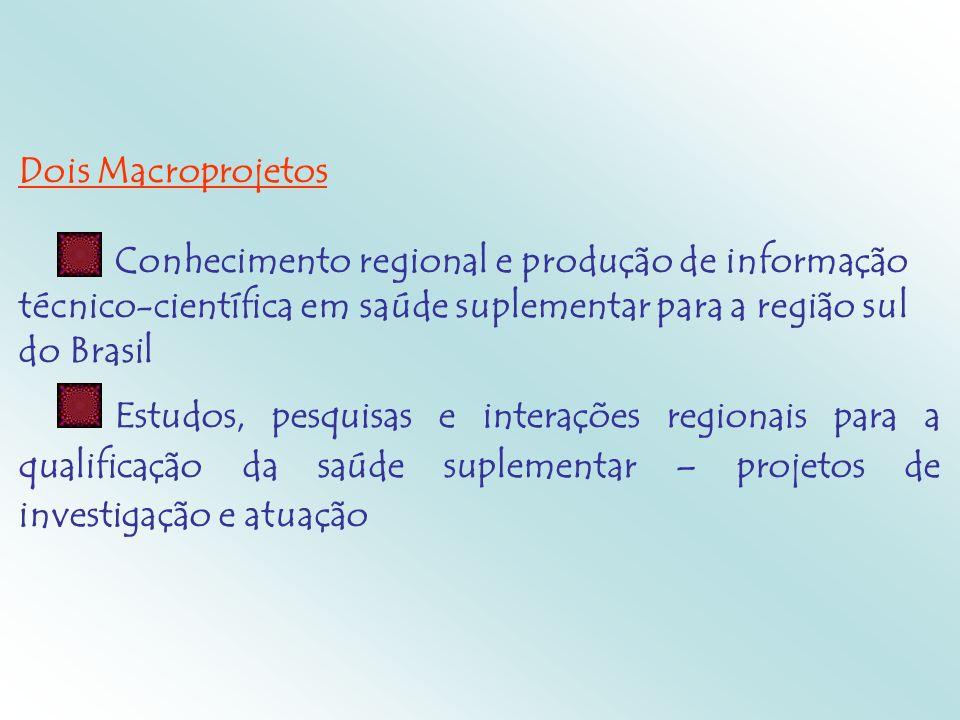 Dois Macroprojetos Conhecimento regional e produção de informação técnico-científica em saúde suplementar para a região sul do Brasil Estudos, pesquis