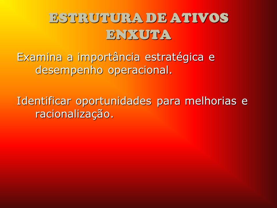 ESTRUTURA DE ATIVOS ENXUTA Examina a importância estratégica e desempenho operacional. Identificar oportunidades para melhorias e racionalização.