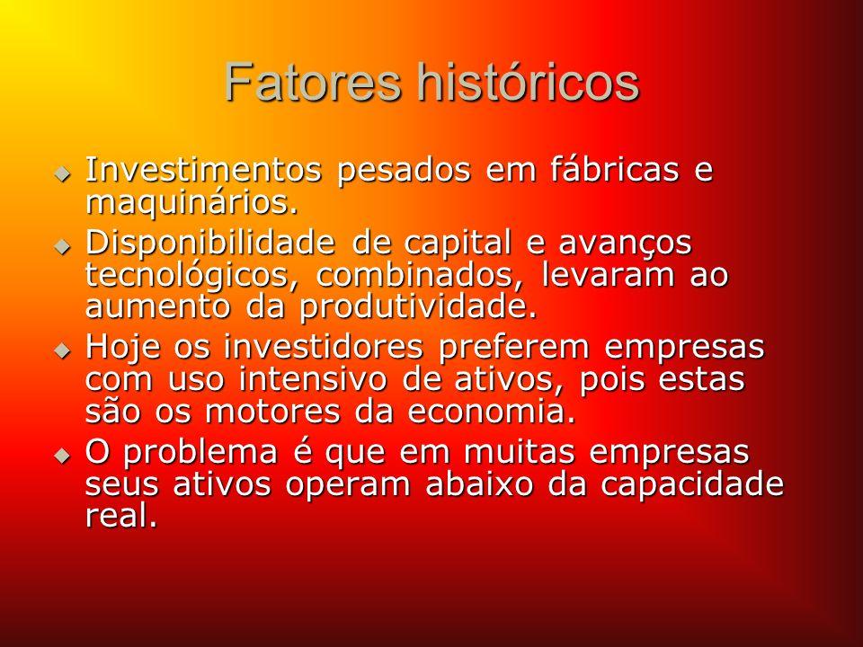 Fatores históricos Investimentos pesados em fábricas e maquinários. Investimentos pesados em fábricas e maquinários. Disponibilidade de capital e avan