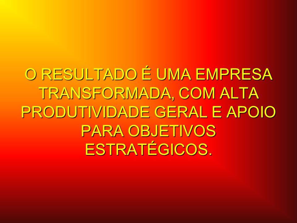 O RESULTADO É UMA EMPRESA TRANSFORMADA, COM ALTA PRODUTIVIDADE GERAL E APOIO PARA OBJETIVOS ESTRATÉGICOS.