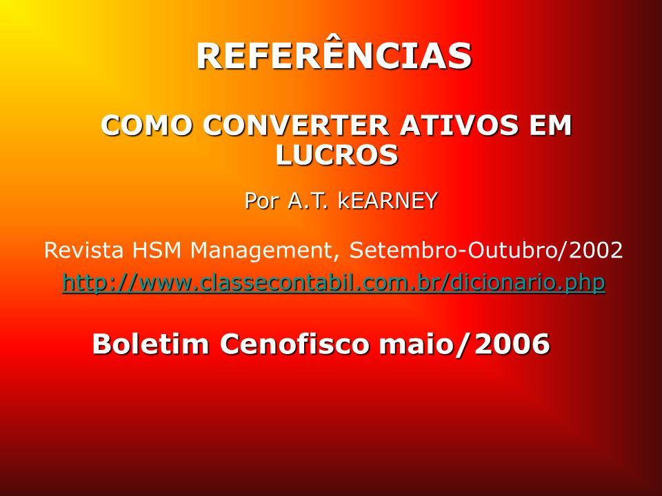Boletim Cenofisco maio/2006 Por A.T. kEARNEY Revista HSM Management, Setembro-Outubro/2002 http://www.classecontabil.com.br/dicionario.php REFERÊNCIAS