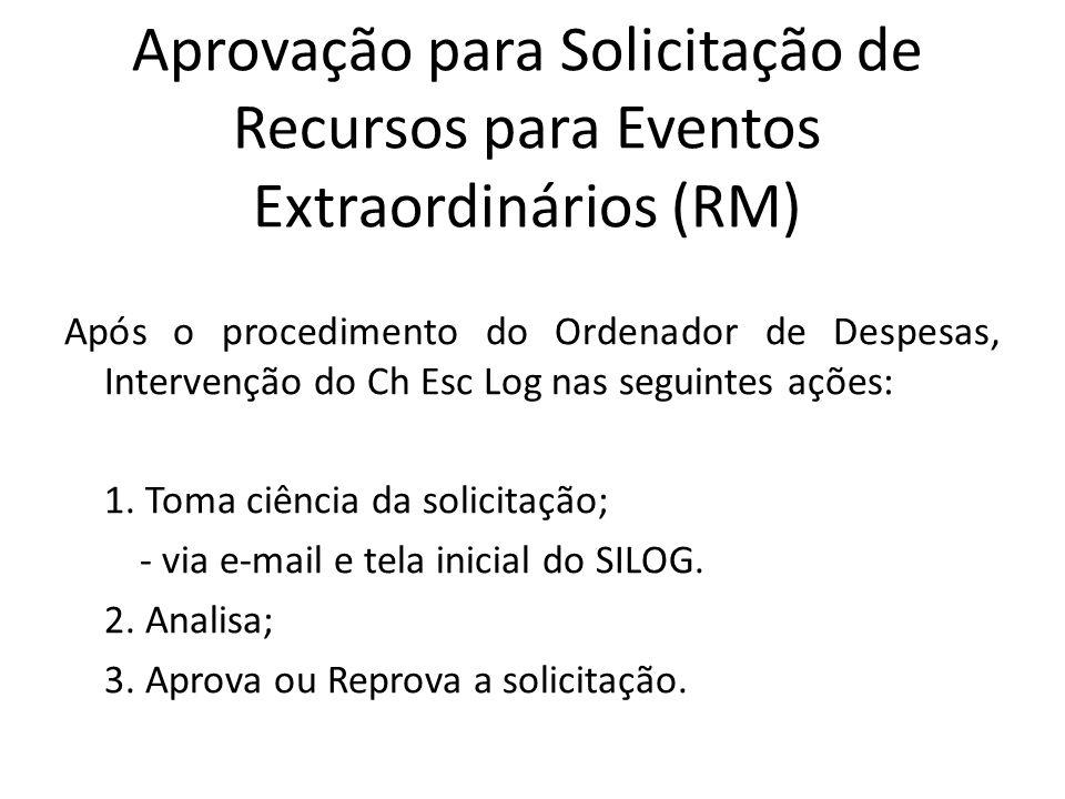 Aprovação para Solicitação de Recursos para Eventos Extraordinários (RM) Após o procedimento do Ordenador de Despesas, Intervenção do Ch Esc Log nas seguintes ações: 1.