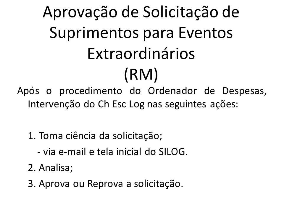 Aprovação de Solicitação de Suprimentos para Eventos Extraordinários (RM) Após o procedimento do Ordenador de Despesas, Intervenção do Ch Esc Log nas seguintes ações: 1.