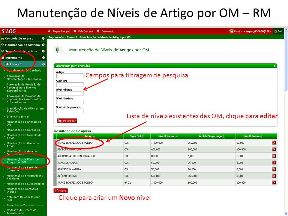 Manutenção de Níveis de Artigo por OM – RM Lista de níveis existentes das OM, clique para editar Clique para criar um Novo nível Campos para filtragem de pesquisa