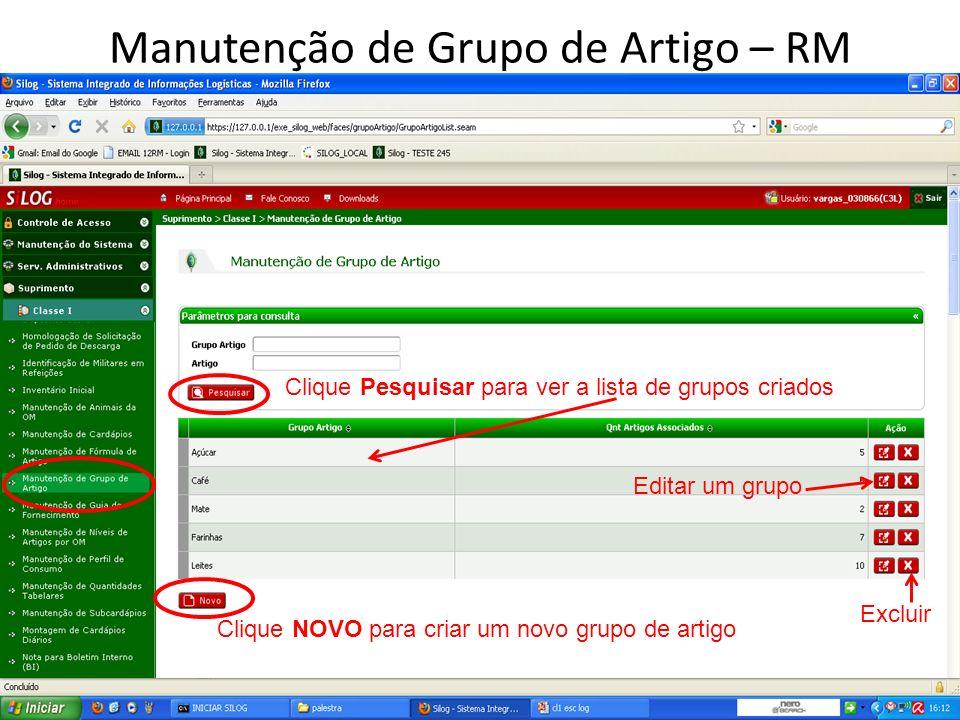 Manutenção de Grupo de Artigo – RM Clique Pesquisar para ver a lista de grupos criados Clique NOVO para criar um novo grupo de artigo Editar um grupo Excluir