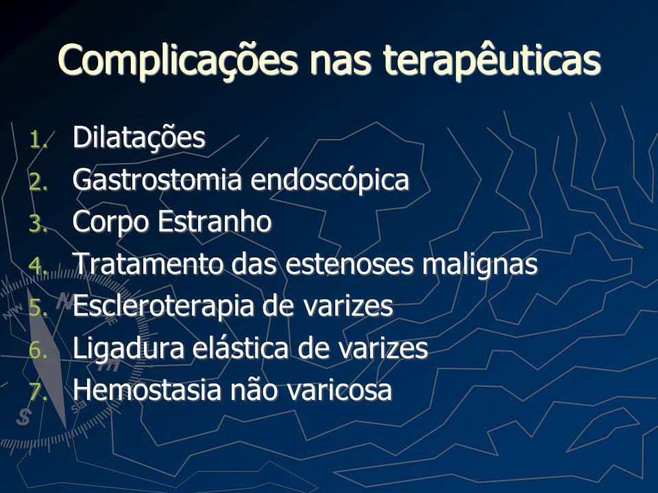 Complicações nas terapêuticas 1. Dilatações 2. Gastrostomia endoscópica 3. Corpo Estranho 4. Tratamento das estenoses malignas 5. Escleroterapia de va