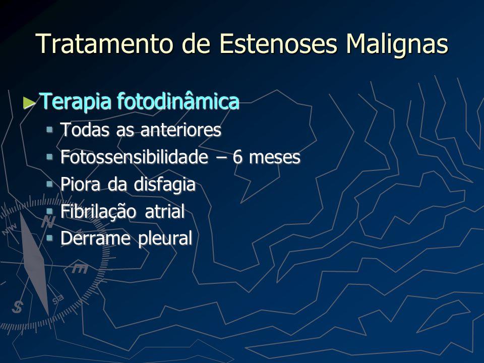 Tratamento de Estenoses Malignas Endopróteses ( Plásticas X Auto-Expansíveis) Endopróteses ( Plásticas X Auto-Expansíveis) Dor 20% Dor 20% Migração Migração Hemorragia Hemorragia Impactação de alimento Impactação de alimento Obstrução pelo TU Obstrução pelo TU Aspiração – Prótese anti-refluxo Aspiração – Prótese anti-refluxo Morte 3% Morte 3%