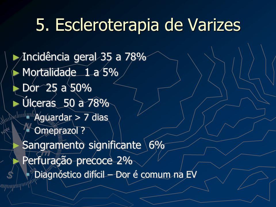 Escleroterapia de Varizes Estenoses 2 a 20% Estenoses 2 a 20% Pneumonia por aspiração 5% Pneumonia por aspiração 5% Emergência – Intubar Emergência – Intubar Derrame pleural Derrame pleural Peritonite bacteriana Peritonite bacteriana