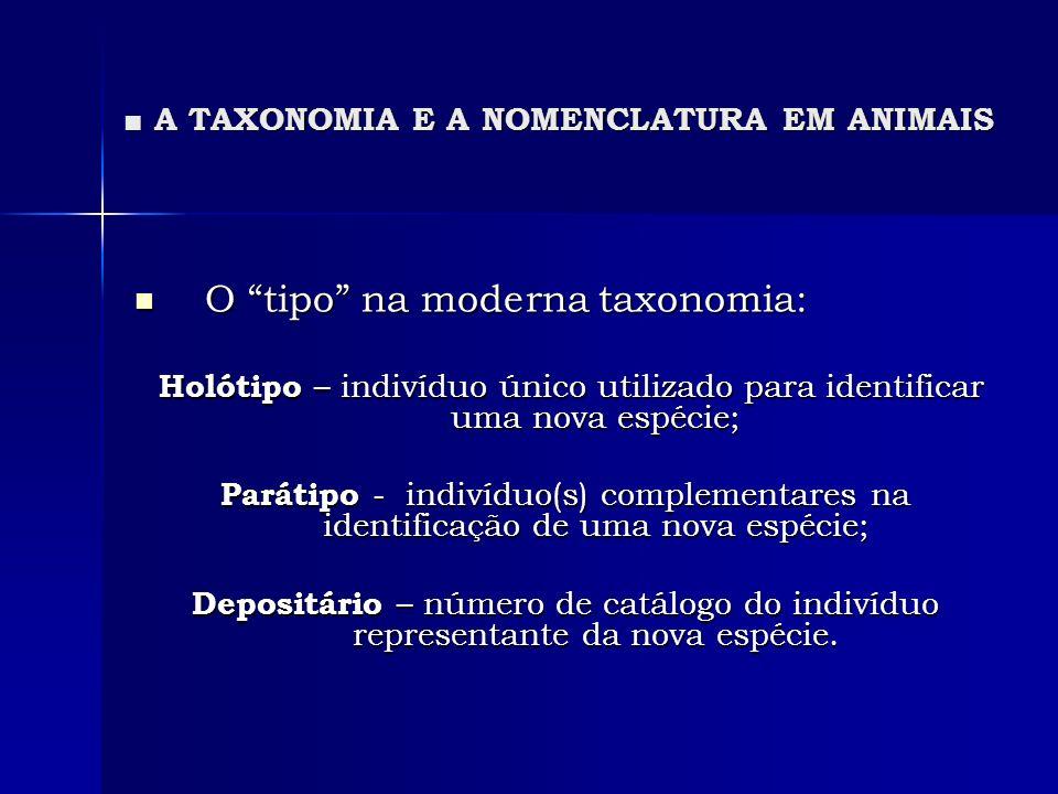 A TAXONOMIA E A NOMENCLATURA EM ANIMAIS A TAXONOMIA E A NOMENCLATURA EM ANIMAIS O tipo na moderna taxonomia: O tipo na moderna taxonomia: Holótipo – i