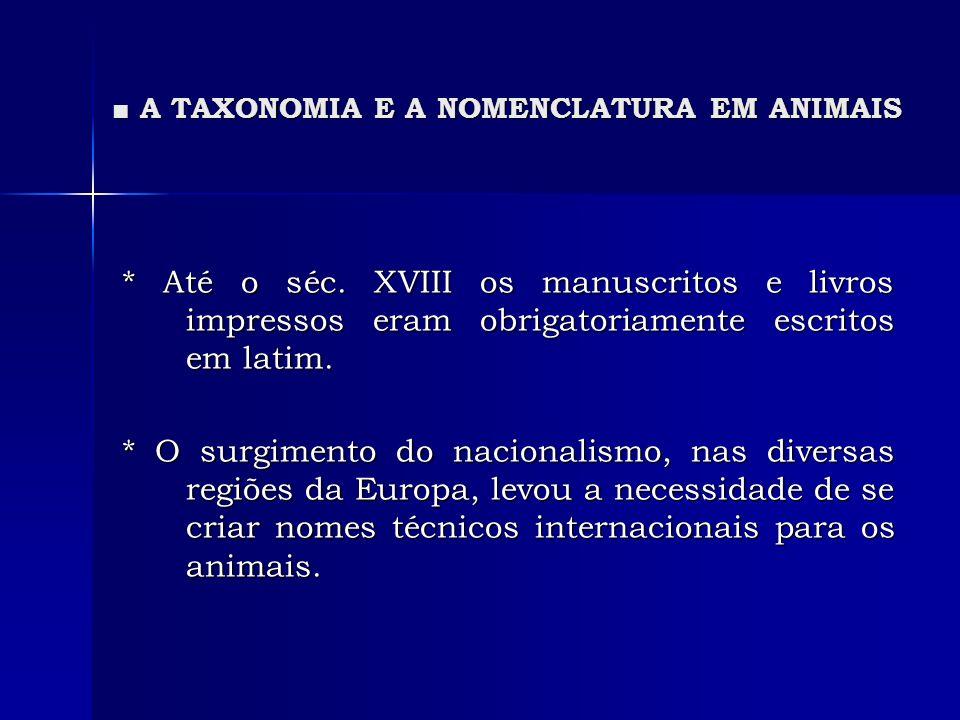 A TAXONOMIA E A NOMENCLATURA EM ANIMAIS A TAXONOMIA E A NOMENCLATURA EM ANIMAIS * Até o séc. XVIII os manuscritos e livros impressos eram obrigatoriam