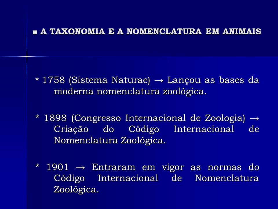 A TAXONOMIA E A NOMENCLATURA EM ANIMAIS A TAXONOMIA E A NOMENCLATURA EM ANIMAIS * 1758 (Sistema Naturae) Lançou as bases da moderna nomenclatura zooló