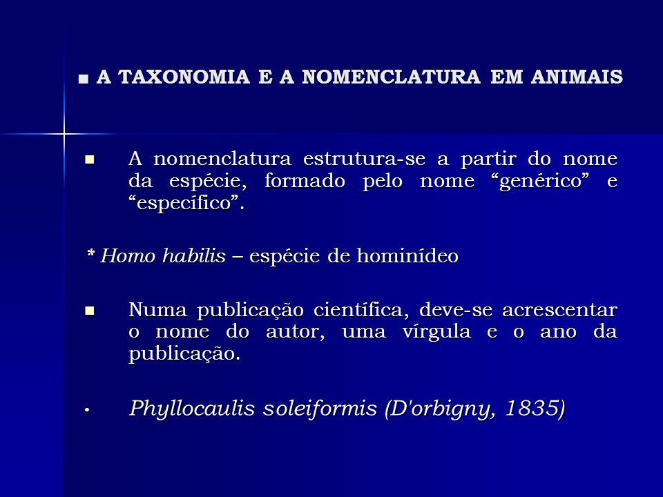 A TAXONOMIA E A NOMENCLATURA EM ANIMAIS A TAXONOMIA E A NOMENCLATURA EM ANIMAIS A nomenclatura estrutura-se a partir do nome da espécie, formado pelo