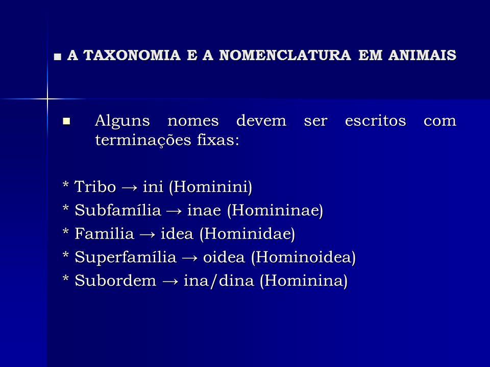A TAXONOMIA E A NOMENCLATURA EM ANIMAIS A TAXONOMIA E A NOMENCLATURA EM ANIMAIS Alguns nomes devem ser escritos com terminações fixas: Alguns nomes de