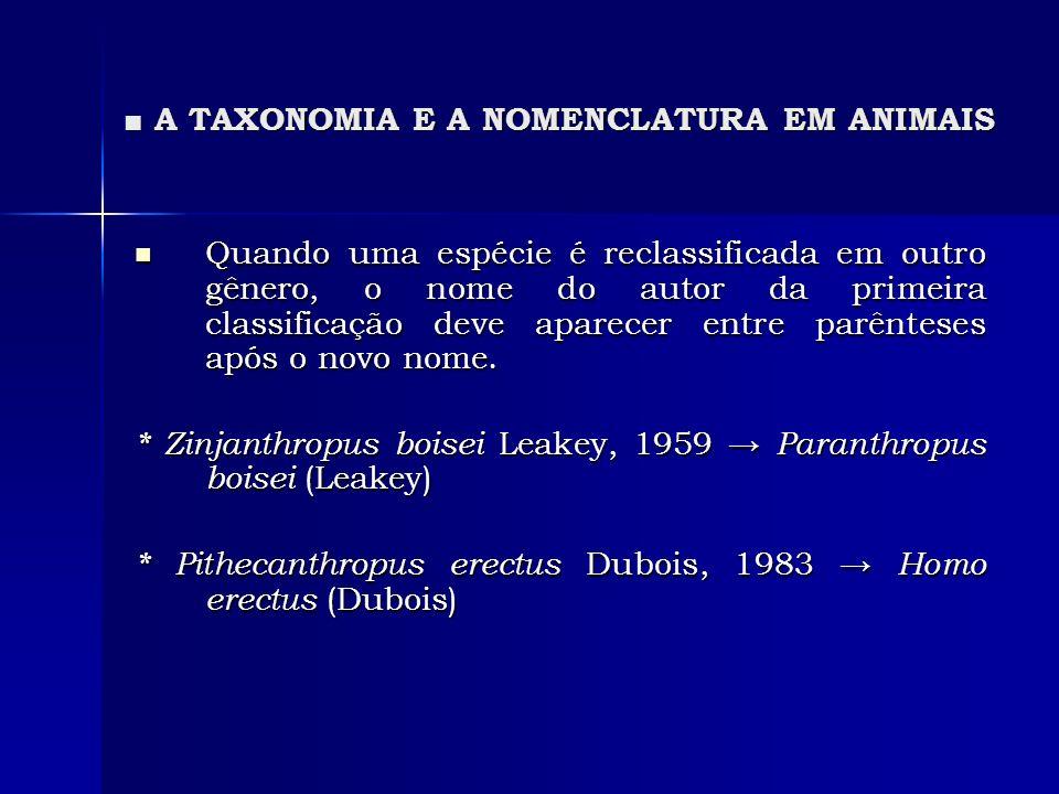 A TAXONOMIA E A NOMENCLATURA EM ANIMAIS A TAXONOMIA E A NOMENCLATURA EM ANIMAIS Quando uma espécie é reclassificada em outro gênero, o nome do autor d
