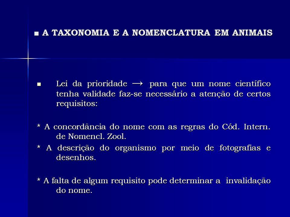 A TAXONOMIA E A NOMENCLATURA EM ANIMAIS A TAXONOMIA E A NOMENCLATURA EM ANIMAIS Lei da prioridade para que um nome científico tenha validade faz-se ne