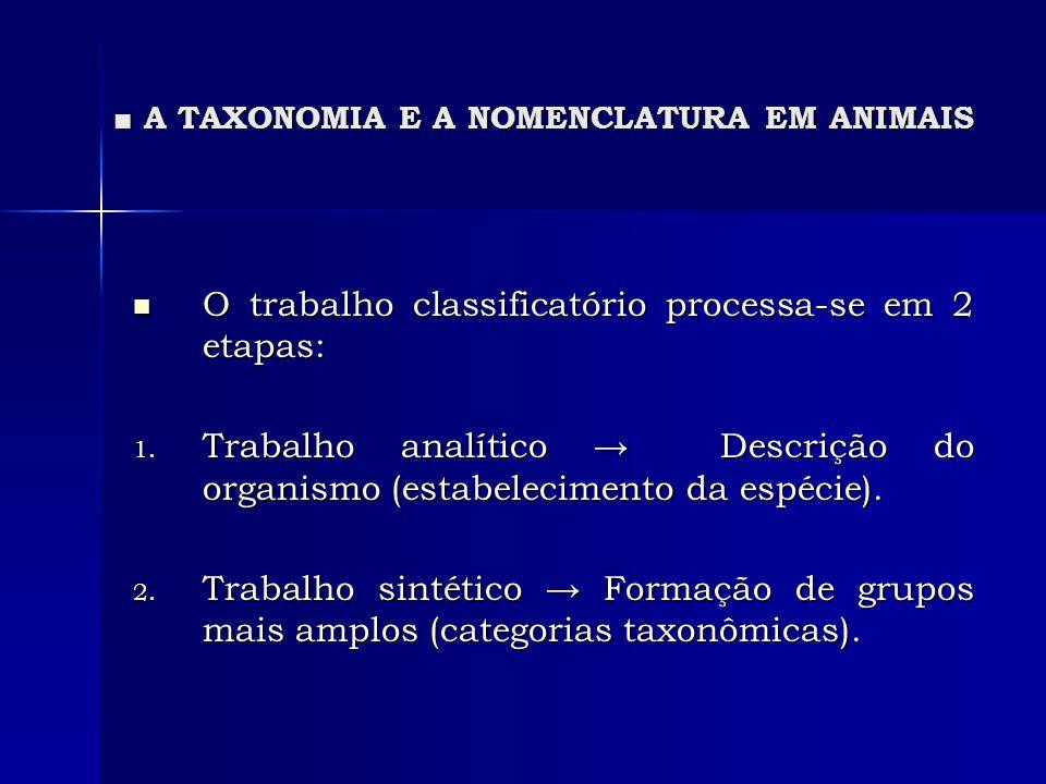A TAXONOMIA E A NOMENCLATURA EM ANIMAIS A TAXONOMIA E A NOMENCLATURA EM ANIMAIS O trabalho classificatório processa-se em 2 etapas: O trabalho classif