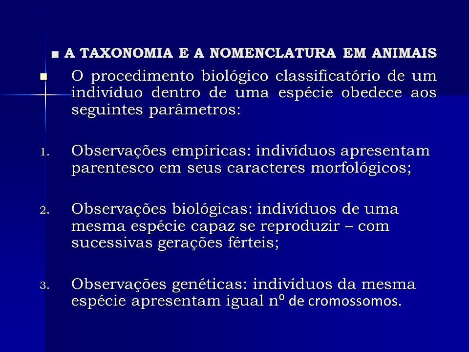 A TAXONOMIA E A NOMENCLATURA EM ANIMAIS A TAXONOMIA E A NOMENCLATURA EM ANIMAIS O procedimento biológico classificatório de um indivíduo dentro de uma