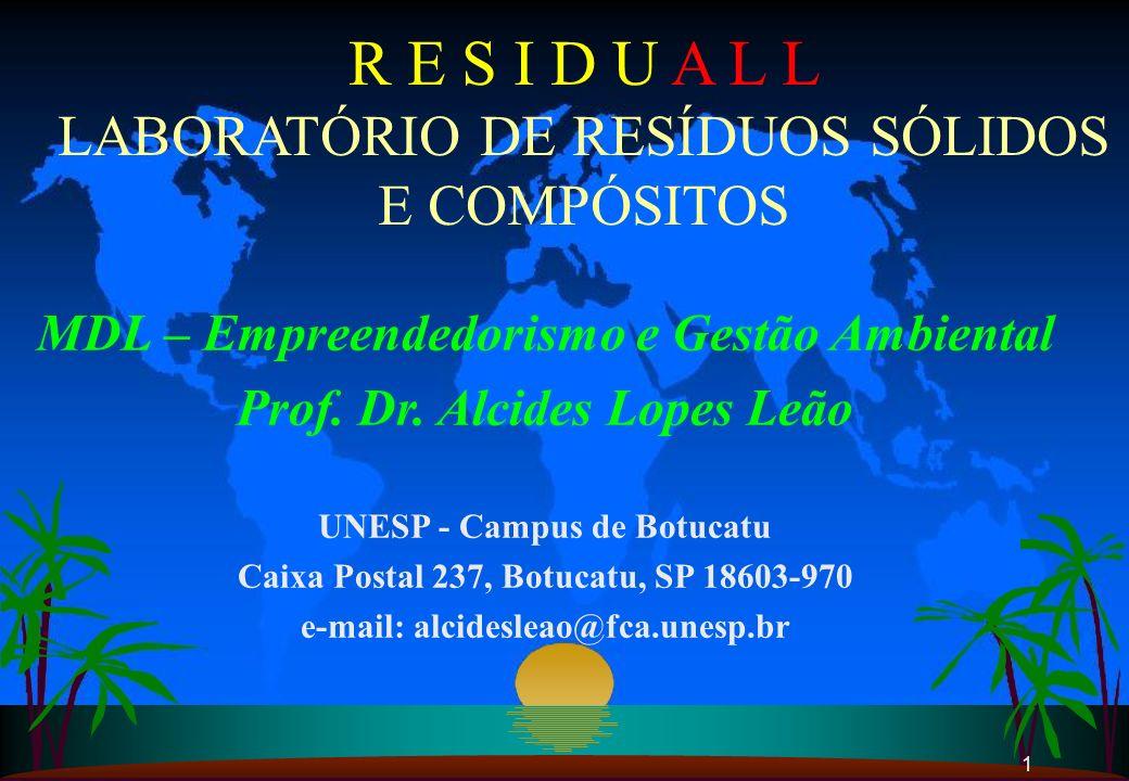1 R E S I D U A L L LABORATÓRIO DE RESÍDUOS SÓLIDOS E COMPÓSITOS MDL – Empreendedorismo e Gestão Ambiental Prof. Dr. Alcides Lopes Leão UNESP - Campus