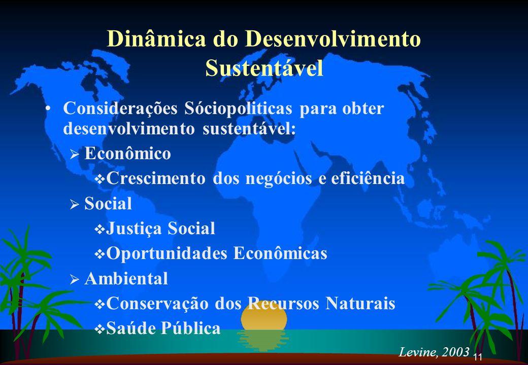 11 Levine, 2003 Dinâmica do Desenvolvimento Sustentável Considerações Sóciopoliticas para obter desenvolvimento sustentável: Econômico Crescimento dos