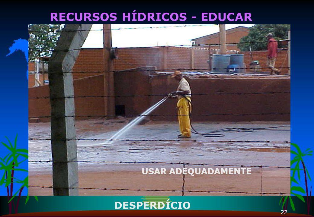 22 RECURSOS HÍDRICOS - EDUCAR USAR ADEQUADAMENTE DESPERDÍCIO