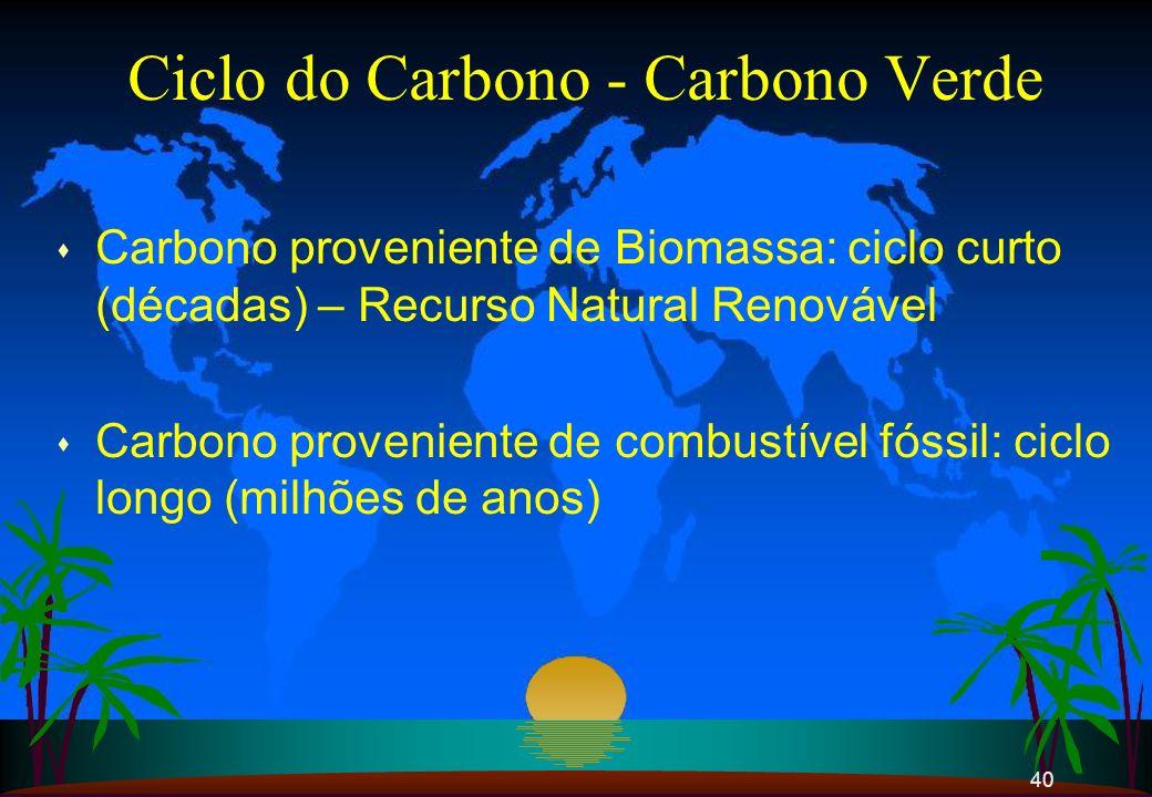 40 Ciclo do Carbono - Carbono Verde s Carbono proveniente de Biomassa: ciclo curto (décadas) – Recurso Natural Renovável s Carbono proveniente de comb