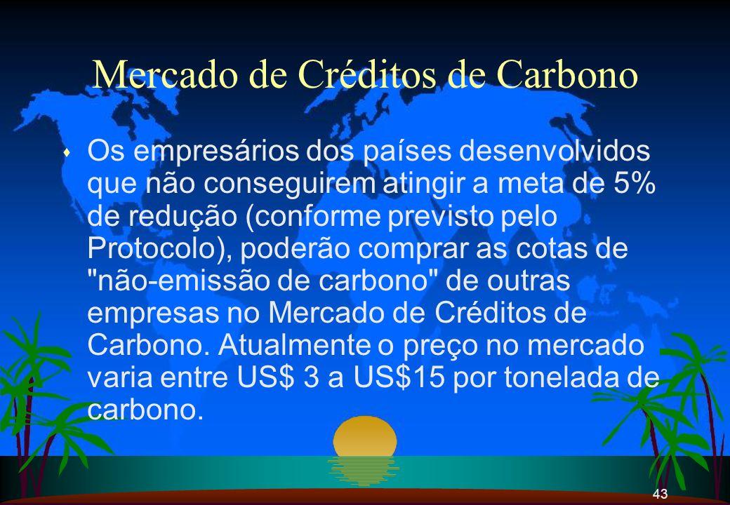 43 Mercado de Créditos de Carbono s Os empresários dos países desenvolvidos que não conseguirem atingir a meta de 5% de redução (conforme previsto pel